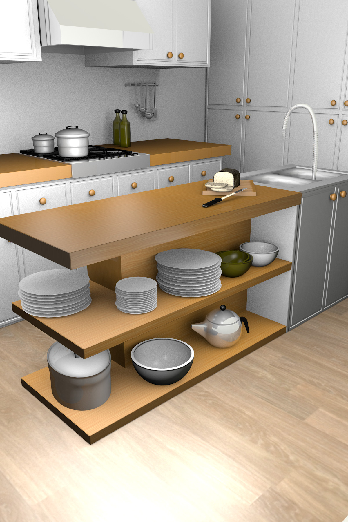 Blackspike design ltd blender 3d kitchen model for Model kitchen design