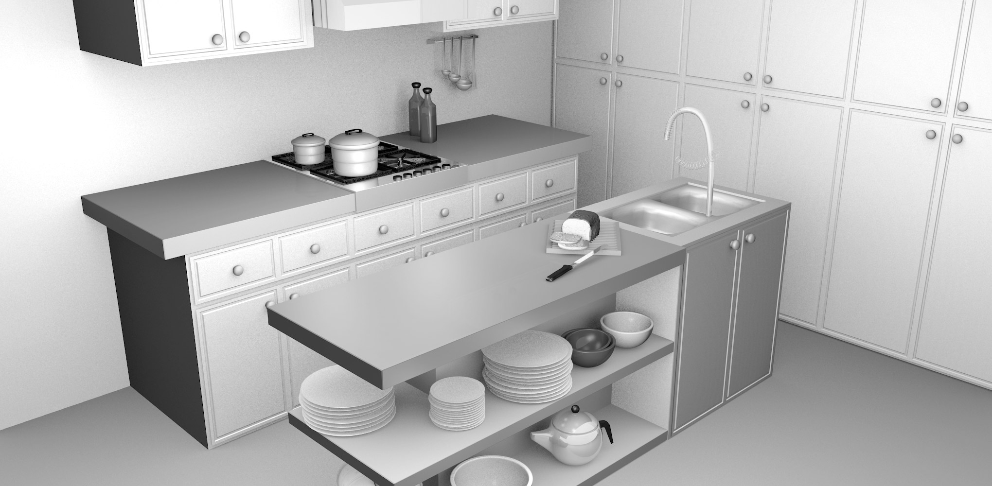 Blackspike design ltd blender 3d kitchen model for Decor 3d model
