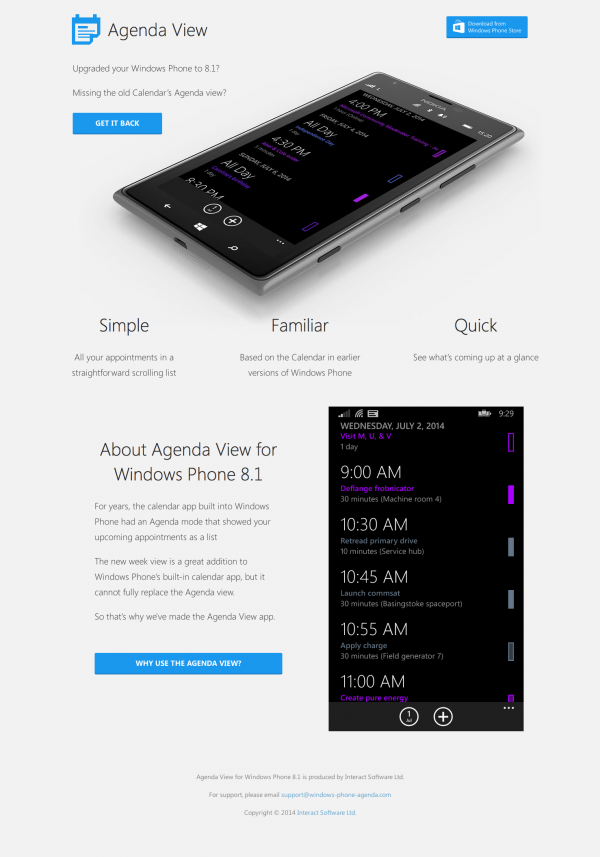 Agenda View for Windows Phone 8.1